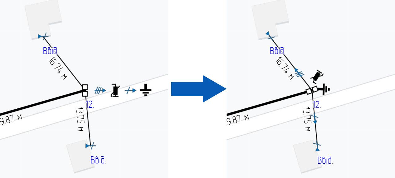 Поворот та переміщення позначення типового вузла на плані лінії електропередач